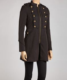 Take a look at this Black Brassy Military Jacket - Women by Steve Madden on #zulily today!