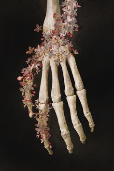 Jehan // classical style painting skeleton hand with flowers