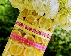 pink lemonade party, using fresh lemons as part of the decoration.