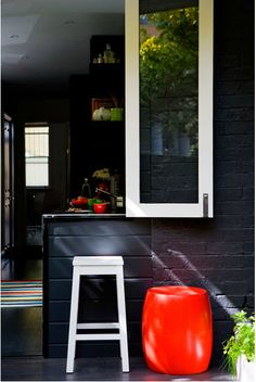 I always love these indoor/outdoor spaces. Indoor Outdoor Kitchen, Outdoor Spaces, Outdoor Ideas, Outdoor Kitchens, Outdoor Dining, Black Kitchens, Home Kitchens, Black Rooms, Tiny Spaces