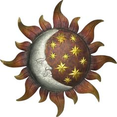 Features: -Timeless, simple, classic art piece will certainly adapt to every interior or exterior design. Dimensions: -Min depth: Overall Hei Sun Moon Stars, Sun And Stars, Sun Designs, Wall Art Designs, Wall Design, Outdoor Wall Art, Sun Tattoos, Sun Art, Star Wall