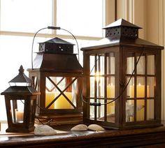 Garrison Windowpane Lanterns | Pottery Barn