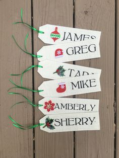 Christmas stocking name tags. Large tags available on laceburlapshop.etsy.com