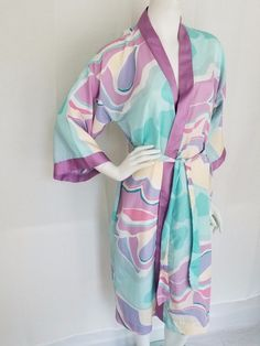 Vtg 70s 80s YOUNG TRADITIONS Pastel Mod Swirls Polyester Satin Womens SMALL #YoungTraditions