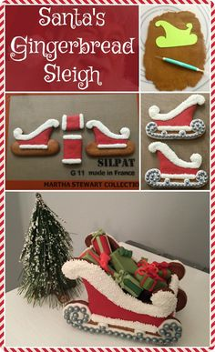 Santa's Sleigh made with Gingerbread, Fondant, Icing and Sprinkles from the Craft Crib Gingerbread House Template, Christmas Gingerbread House, Gingerbread Cake, Christmas Sweets, Gingerbread Houses, Christmas Baking, Christmas Fun, Christmas Cookies, Xmas