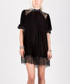 Black Velvet Lace-Accent Beatrice Dress #zulily #zulilyfinds