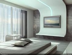 Bedroom Design Ideas – Create Your Own Private Sanctuary Bedroom False Ceiling Design, Bedroom Bed Design, Modern Bedroom Design, Contemporary Bedroom, Futuristic Bedroom, Futuristic Interior, Bedroom Furniture, Furniture Design, Bedroom Decor