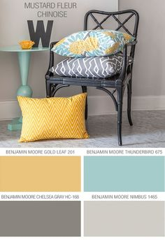 Grey, aqua, yellow color combo.