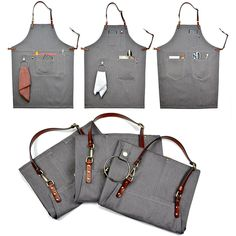 Cow Split Leather Straps Can be Taken Off When Need to Cleanthe Aprons. Convenient Pockets. Fabric: Denim. Size: S,M,L. Logo Printing, Please refer to :http://www.littletailorstudio.com/product/apron-logo-printing/
