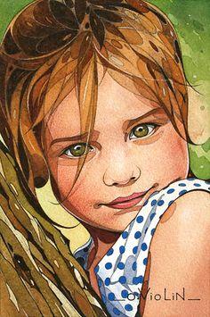 dessins et aquarelles: Portraits d'enfants