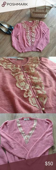 """Oscar de la Renta Pink & Gold Lace Sweater Set Comes with both the Cardigan and the sweater.  Bust for each approx 18-19"""" and length for both approx 20-21"""". In perfect condition, no flaws! I believe that it is made out of a wool/ Cashmere mixture, but no tag to confirm. Lace trims  both pieces and the Cardigan has mother of pearl/ gold buttons. Really a gorgeous set. Oscar de la Renta Sweaters"""