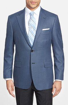Men's Big & Tall Hickey Freeman 'Traveler' Classic Fit Check Sport Coat
