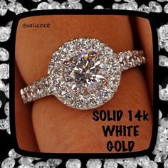 14k Genuine White Gold 3.6CT Stunning Ring Retail: $2499 Total Carat Weight =  3.60 Carat Ring Size = 7 (this ring is sizable)  Type of Metal = Solid, Real, Genuine White Gold Metal Stamp = 14K  Gem Type =  Man-Made/Simulated Diamond  Stone Shape = Round Brilliant Cut  Man-Made Diamond Color =  Clear-White ( D Color ) Man-Made Diamond Clarity =  Flawless ( better than VVS - VS - or SI Natural Diamonds ) Country of Manufacturer =  INDIA Origin of Stones =   Simulated Diamond Independent…
