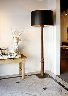Cast Iron Columns (circa 1880) Floor Lamp with Custom-made Shade