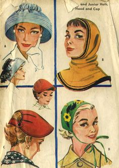 Items similar to Vintage 1950s McCalls 2093 Misses Pullover Hood, Appliqued Tie On Cap,Back Button Visor, Audrey Hepburn Hat Sewing Pattern Size 21-23 on Etsy