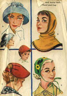 Items similar to Vintage 1950s McCalls 2093 Misses Pullover Hood, Appliqued Tie On Cap,Back Button Visor, Audrey Hepburn Hat Sewing Pattern Size 21-23 on Etsy