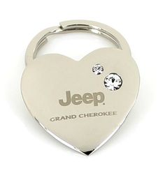 Jeep Grand Cherokee Heart Shape Keychain W/2 Swarovski Crystals