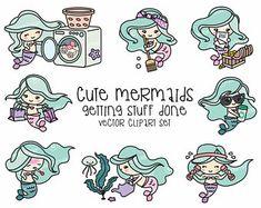 Premium Vector Clipart - Kawaii Mermaid - Cute Mermaids Planning Clipart - Instant Download - Kawaii Clipart