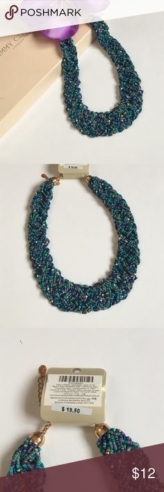 Beaded necklace Beautiful necklace made of seed beads in blue, gold, white turquoise grey and gold Jewelry Necklaces