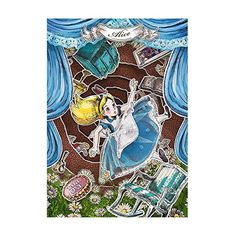 Disney Alice Paper Theater 3D Lenticular Card / Disney 3D Postcard
