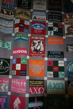 custome t shirt quilt - etsy  Not sure I would ever commit to making a quilt, but it is good to know I could have one made