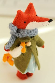 Cute Felt Fox with Coat, Scarf, and... Chicken!