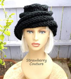 Christmas Gifts for Women over 70 Womens Knitted Hat Womens Hat Trendy Black Hat OMBRETTA Oversized Knitted Beanie Hat by strawberrycouture by #strawberrycouture on #Etsy