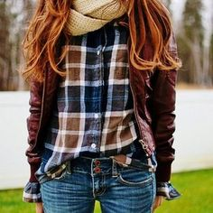brown leather jacket, fall button up, infinity scarf... and red hair <3