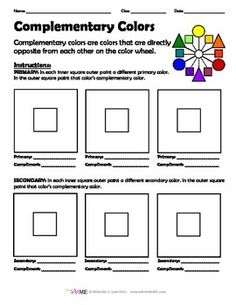 Complementary Color Worksheet is designed to help students identify and paint… Teaching Colors, Teaching Art, Middle School Art, Art School, Color Wheel Art, Art Handouts, 4th Grade Art, Fourth Grade, Art Worksheets