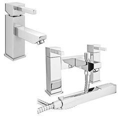 Prime Modern Basin and Bath Shower Mixer Taps Pack - Chrome Bath Shower Mixer Taps, Basin, Chrome, Bathroom, Modern, Washroom, Trendy Tree, Full Bath, Bath
