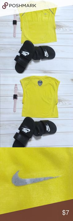 Nike Pro yellow crop top *Size: Medium* *Machine wash cold/ like colors* -Vibrant yellow exterior -cropped bottom -Super stretchy material -Logos are distressed from ironing -Pairs well with all athletic wear or casually with jeans Nike Tops Crop Tops