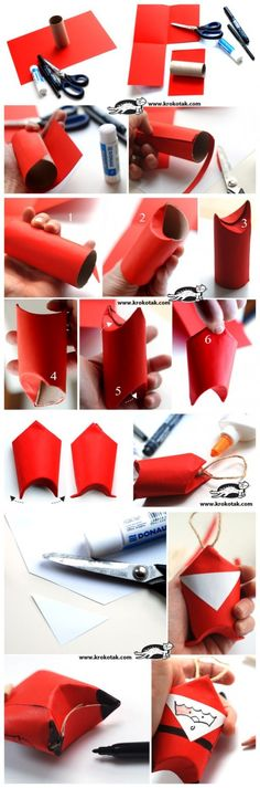 Toilet Paper Roll Santa - Picture Tutorial, from How To Instructions.
