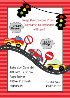 Kids Birthday Invitations Transportation Cars KBI285 Parties