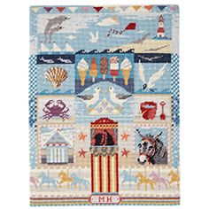 Seaside Sampler, This sums up perfectly to us all of the good things you can expect from a traditional day at the English Seaside in summer! A wonderfully detailed needlepoint kit.