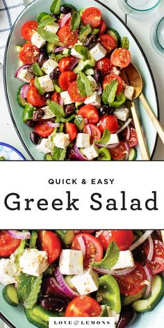 This Greek salad recipe is easy, refreshing, and loaded with flavor! Make it ahead for cookouts, pack it up for a healthy lunch, or serve it as a dinner side with your favorite pizza or pasta! Easy Greek Salad Recipe, Greek Salad Recipes, Summer Salad Recipes, Greek Salad Ingredients, Dressings, Best Summer Salads, Roasted Vegetable Pasta, Planning Menu, Salads To Go