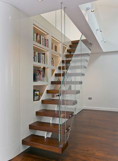 stair step bookcase wood floor stairs shelves books glass contemporary staircase of The Best Stair Step Bookcase Combos to be in Awe Of Unique Bookshelves, Bookshelf Design, Bookshelves Built In, Bookshelf Decorating, Decorating Ideas, Step Bookcase, Wood Floor Stairs, Stair Shelves, Shelving