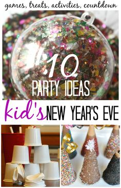 New Years Eve Party for Kids Games Activities Treats. Simple New Year's Eve party ideas for families. Try a few, new Kid's New Years activities and crafts this year with your family! New Years With Kids, Family New Years Eve, New Years Eve Games, New Years Eve Day, New Years Party, New Years Eve Party Ideas For Family, New Year Diy, New Year's Eve Activities, Party Activities