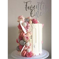 Buy it here! WEBSTA @ tiersandco - That natural morning light no filter is ever used on any of the cake photos. Cake topper by the awesome Cute Cakes, Pretty Cakes, Gorgeous Cakes, Amazing Cakes, Drippy Cakes, Naked Cakes, Bolo Cake, 21st Birthday Cakes, Occasion Cakes