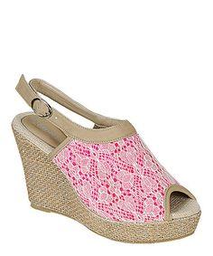 Loving this Fuchsia Lace Echo Wedge Sandal on #zulily! #zulilyfinds