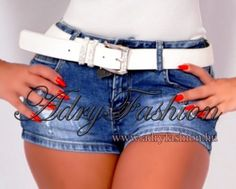 Fehér  színű  köves női öv 85 cm Denim Shorts, Women, Fashion, Moda, Fashion Styles, Fashion Illustrations, Woman, Jean Shorts