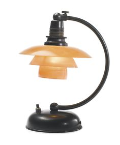 """PH"" BEDSIDE LAMP *  WITH TYPE 1/1 SHADES Poul Henningsen  patinated brass, glass and bakelite  circa 1933"