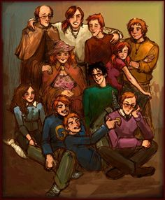 Arthur, Bill, Ron, Charlie, hermione, Molly, Harry, Gred, Feorge, and Percy.  ;-)
