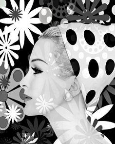 Retro black and white mod vintage goddess photomontage por VoogsArt