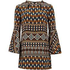 Issa Multicoloured Geometric Print Silk Tunic Dress ($235) ❤ liked on Polyvore featuring dresses, vestidos, layered dress, bohemian dresses, geometric pattern dress, multi-color dress and pattern dress