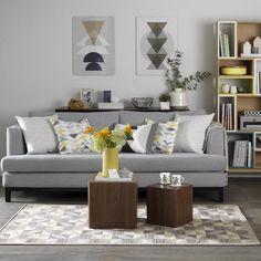 Grey mustard living room design