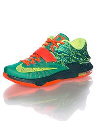 3f81a8df3f1 NIKE Kevin Durant Low top sneaker Lace and velcro strap closure Neon yellow  abstract printed upper NIKE swoosh Zoom air bubble heel