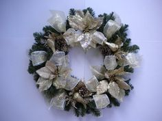 Gold Poinsettias Glitter Birds Cones and Ribbons Christmas Front Door Wreath * Check out this great product.