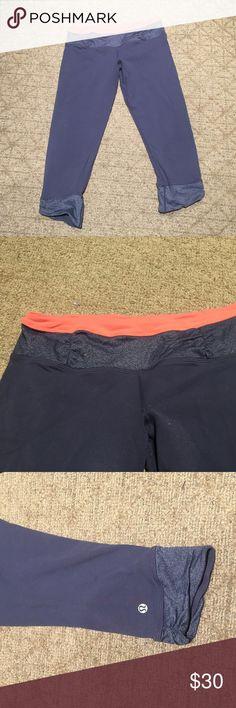 Lululemon crop grey legging Crop legging with orange waist band. Scrunch at bottom. lululemon athletica Pants Leggings