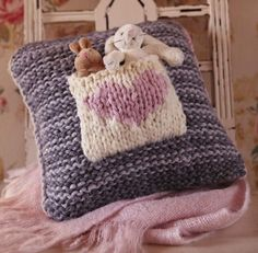 knitted cushion for plushies
