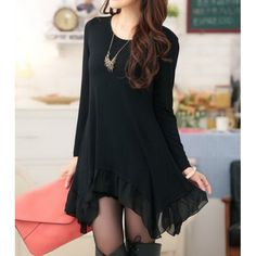 Wholesale Solid Color Long Sleeve Scoop Neck Irregular Hem Chiffon Splicing Dress For Women (BLACK,ONE SIZE), Long Sleeve Dresses - Rosewholesale.com